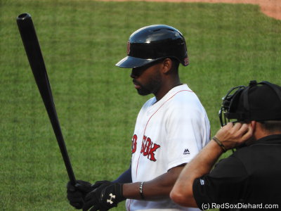 Jackie Bradley Jr. had two hits and two outfield assists in the game - one nailing a runner trying to stretch a single to a double, and one doubling up a runner at second.