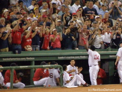 A curtain call for Big Papi after his first home run of 2009