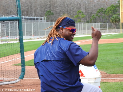 After the pitchers finished their drill, batting practice started up. While Hanley Ramirez waited for his teammates to arrive, a fan shouted out that she liked his hair. That prompted an enthusiastic thumbs-up from Hanley.