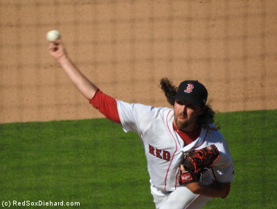 And while we're on the subject, Heath Hembree and his long locks took the mound in the seventh.  He also pitched a scoreless inning, but that was thanks to a runner being gunned down at the plate by left fielder Allen Craig.