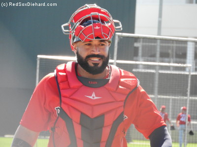 Sandy Leon and the other catchers were kept busy, warming up the pitchers, catching the live B.P. sessions, and then getting in some batting practice of their own.