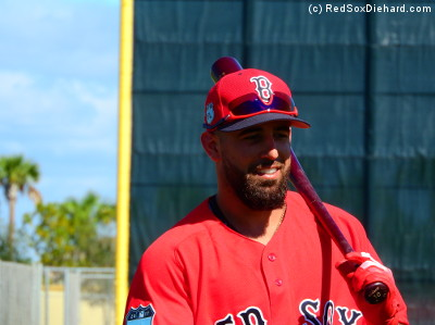 Infielder Deven Marrero pauses between rounds of batting practice.