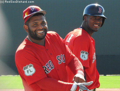 Pablo Sandoval and outfielder Junior Lake share a smile.