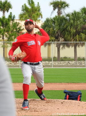 On an adjacent field, David Price threw live B.P.  Rick Porcello also threw today.