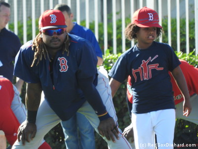 Hanley Ramirez's son joined in the morning stretch.