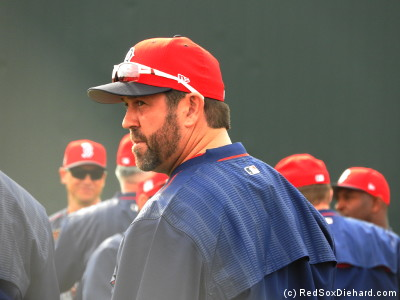 Another favorite from the past, the Captain, Jason Varitek, is another special instructor. Later in the day, he threw batting practice too.
