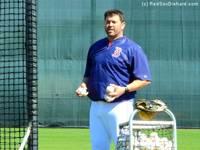 One of the instructors who threw batting practice was old friend Jason Varitek.