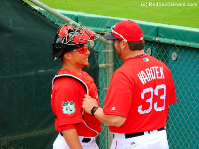 Before the game, we saw Christian Vazquez chatting with Tek in the bullpen.