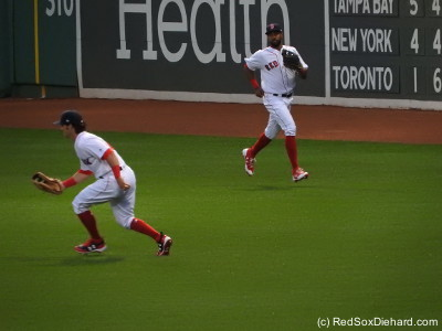 "Outfielders Andrew Benintendi and Chris Young had to chase down a lot of hits all night.  And it could have been worse if Benintendi, filling in in center for JBJ, hadn't made a great diving catch in the fourth that prompted me to nickname him ""Andrew Bradley, Jr."""