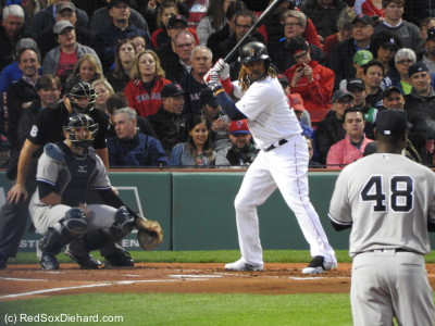 Hanley Ramirez picked up two of the Red Sox' three hits in the game, but neither resulted in a run.