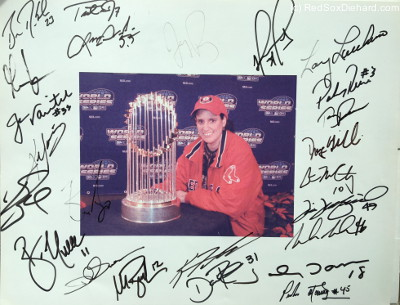 Trot's autograph is second from the left in the top row, between Brian Daubach and Lenny DiNardo.