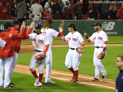 Last year for the post-win handshakes, Big Papi always stood, shirt untucked, right in front of Farrell and the coaches in front of the dugout.  This year Hanley Ramirez has taken over that spot. I guess he got promoted!