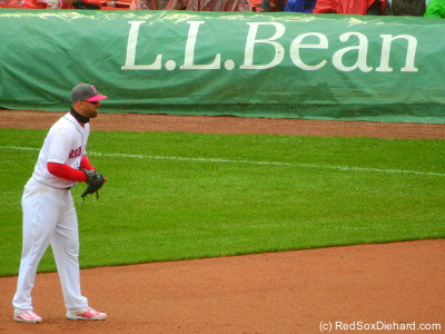 L.L. Bean was an appropriate sponsor of this chilly game. I, for one, was wearing my (special 2013 Red Sox edition) Bean boots.