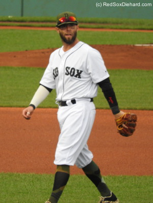 You can tell this pitcure of Dustin Pedroia was taken in the top of the first, because there's no dirt on his uniform yet.