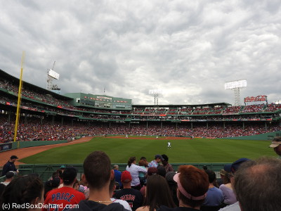 While the morning was sunny, the clouds came as the game started, and it remained overcast.  We even felt a couple of drops of rain in the fourth inning, and I pulled on my jacket.  But it was still the warmest game I had been to this year.
