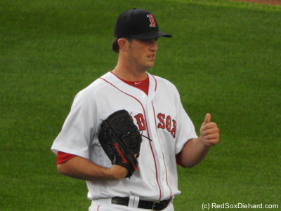 Drew Pomeranz gives a thumbs-up after warming before the game. I wish I could have said the same about his start.