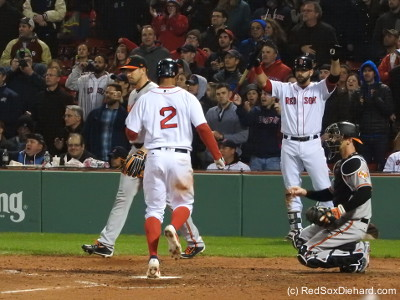 Xander Bogaerts crosses the plate in the bottom of the eighth, scoring the first Red Sox run of the game.