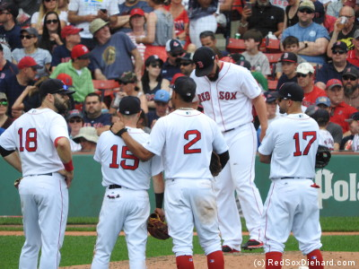 The infielders gather as Robby Scott throws his warmup pitches.