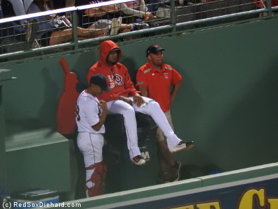 Meanwhile, in the bullpen, Fernando Abad hangs out on the trash can.