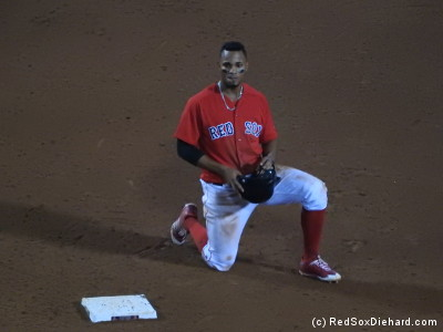 Xander Bogaerts kneels next to second base as the umps review his slide.  He ended up being ruled out because of his slide, but it looked legit to me in the replays I saw.