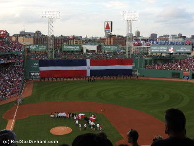 The Dominican flag on the Green Monster represented Papi's homeland.