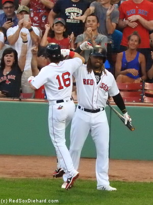 Hanley Ramirez congratulates Andrew Benintendi after his homer in the second inning.  Hanley thought it was so much fun that he homered himself later on.