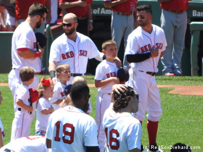 A bunch of Red Sox kids: Dustin Pedroia's three sons, Mitch Moreland's son and daughter, Jackie Bradley's daughter (in his arms), plus Andrew Benintendi, and Deven Marrero.