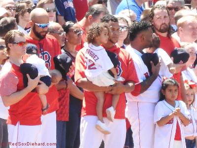 More Red Sox with their kids: Brock Holt, David Price, Eduardo Rodriguez, Pablo Sandoval, and Heath Hembree with their children.