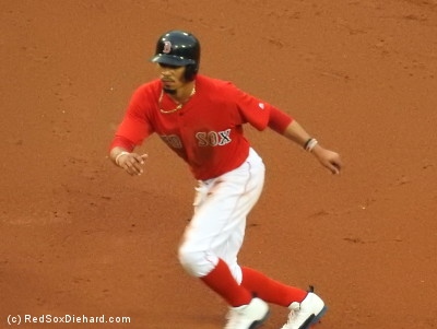 Mookie Betts led off the game with a walk, stole second, and came around to score on Bogaerts' double.