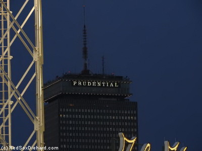 View of the Pru beyond the light tower.