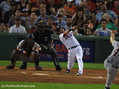 Dustin Pedroia hit an RBI double in the third.