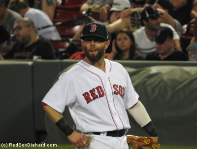 Dustin Pedroia started his night 0-for-4, but he was just waiting for the right moment to make his mark on the game.