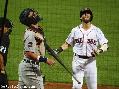 Dustin Pedroia watches his foul pop-up in the ninth.