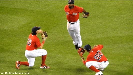 JBJ celebrates the win with a ski jump.