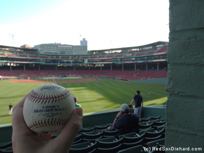 This ball landed a couple of rows behind me in batting practice.