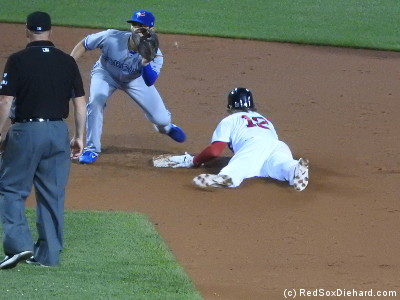 Brock Holt slides in safely with a stolen base in the seventh.