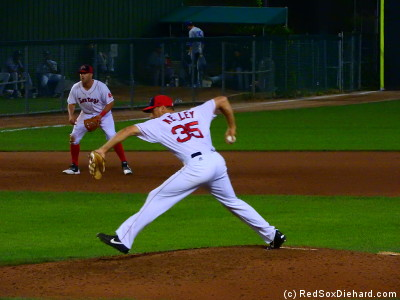 Sidearmer Trevor Kelley pitched the ninth.