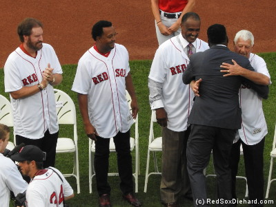 Wade Boggs, Pedro Martinez, Jim Rice, and Carl Yastrzemski welcome Big Papi to the retired numbers club.