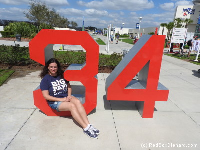 After practice, we made sure to check out the new 34 in front of JetBlue Park, representing David Ortiz, whose number was retired at Fenway last season.
