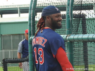 Hanley Ramirez smiles during batting practice.