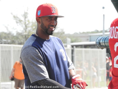 Eduardo Nunez got a big cheer as he came out for batting practice. After sparking the Red Sox lineup down the stretch last year, he became a free agent. He had just re-signed with the Red Sox, and today was his first day in camp. (Robby Scott switched uniform numbers from 63 to wear 36 this year, so Nunez will need something new. He wore a plain shirt today, so I'm still waiting to find out what number he'll wear this year.