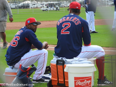 Eduardo Nunez and Xander Bogaerts wait for batting practice to start.
