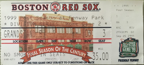 Ticket from 1999 ALDS Game 4 on 10/10/99. The Red Sox won, 23-7.