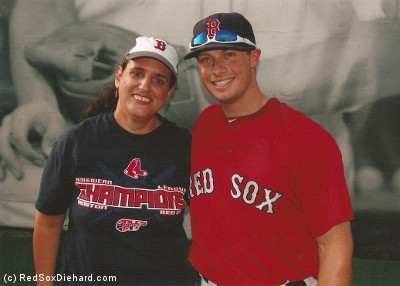 Daniel Nava posed for pictures with fans on Yawkey Way on 8/3/10, before Game #289.