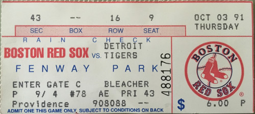 Ticket stub from my 4th game at Fenway, a 10-5 loss.  Certainly wouldn't have guessed at the time that 15 years later I'd have season tickets a few rows in front of where I sat that night.
