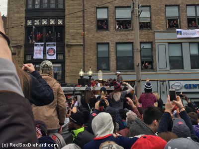 We (sort of) caught up as Mooke Betts' duck boat passed. In the back of the boat, Tzu-Wei Lin holds up the trophy.