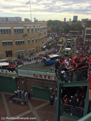 Cue the duck boats! We couldn't find space on the spiral staircase that goes down to the Big Concourse, so we went up to the right field roof deck to overlook the intersection of Ipswich and Boylston streets.